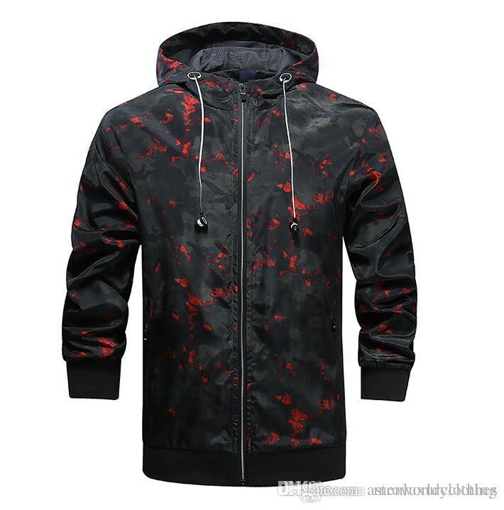 Herren Camouflage Windbreaker Jacken Sports Athletic Slim Fit Coats Jacket