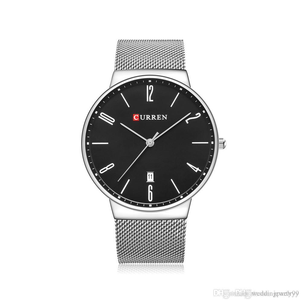 3375602ec67e Compre 2017 CURREN Moda Wach Muñeca Relojes Masculinos Hombres Fecha Reloj  De Cuarzo Correa De Malla De Acero Inoxidable Reloj Reloj Hombre Hombre  Reloj De ...