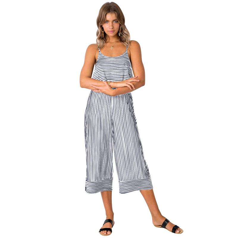 5a169e8a250 Sexy Women Sleeveless Jumpsuit Striped Backless Strappy Casual Wide Leg Long  Pants Cropped Pants Loose Playsuit Summer Rompers Online with  41.87 Piece  on ...