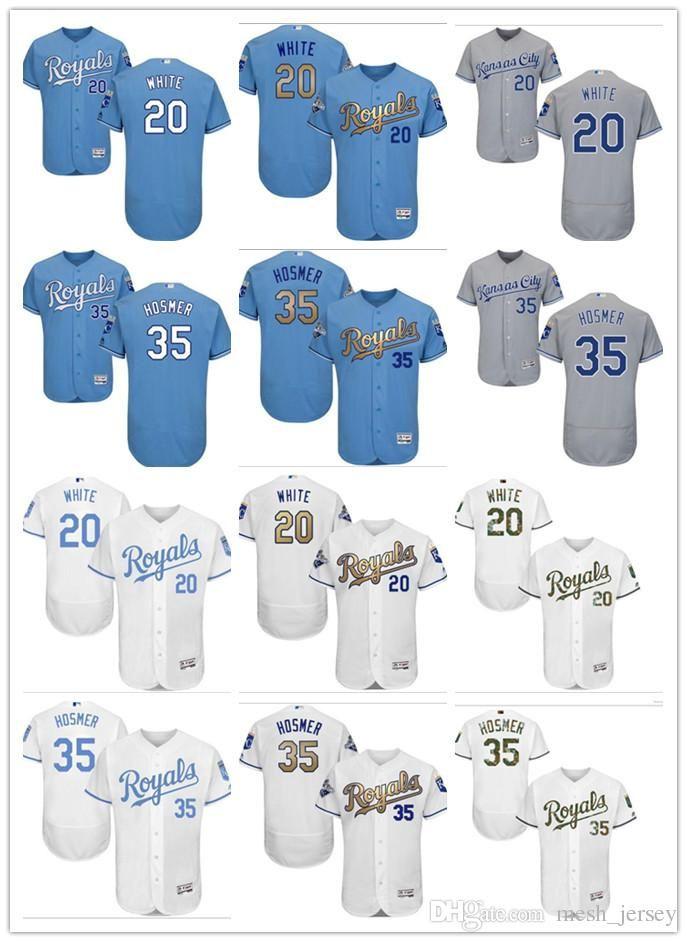 b439bc94a 2019 Custom Men Women Youth KC Royals Jersey  35 Eric Hosmer 20 Frank White  Home Blue White Grey Baseball Jerseys From Wddsport