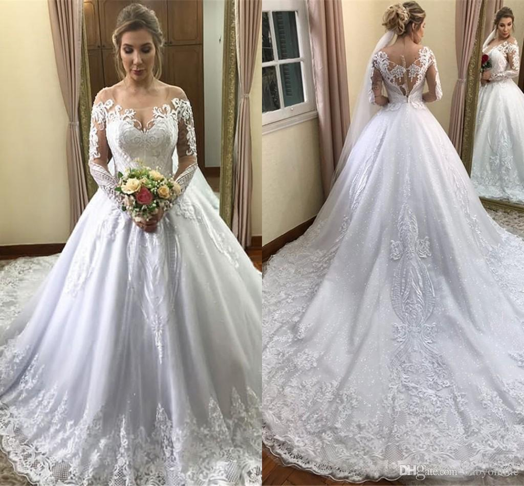 fc906704131 Discount Modest White Long Sleeve Wedding Dresses 2019 Newest Off Shoulder  Lace Appliqued Bridal Gowns With Court Train Plus Size Maternity Dress  Wedding ...