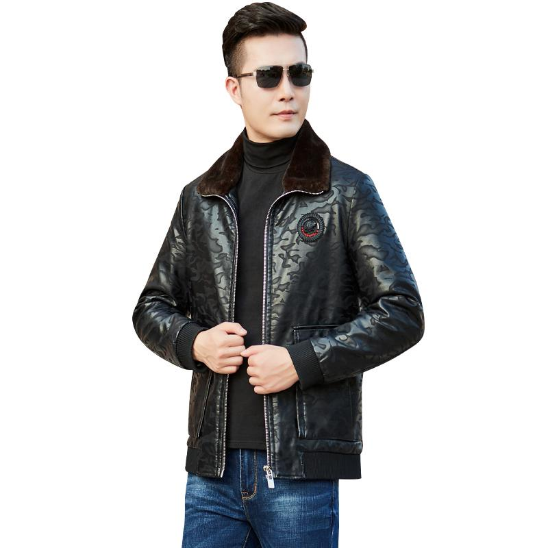Thick Duck Down Men Winter Jackets Leather Leopard print Fur collar Mens Down Coat black Mens Parkas Outerwear