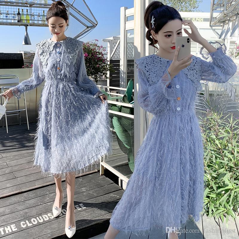 3598b7884df Sweet Korean Women Party Tassel Feather Dress 2019 Fashion Spring Blue  Tassel Patchwork Lace Midi Dress Elastic Waist Vestidos