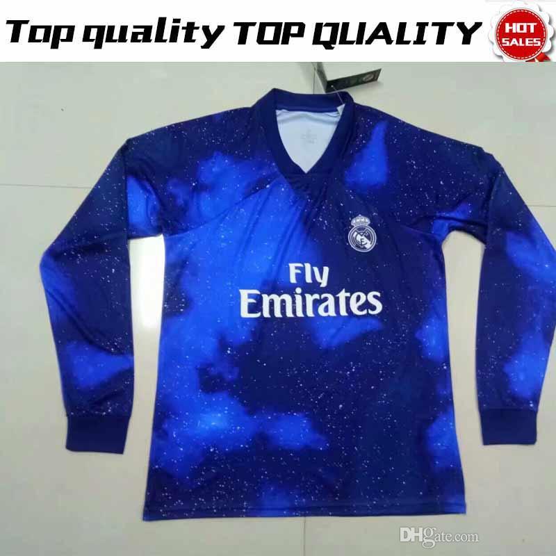 Compre Camisa De Futebol De Manga Comprida Real Madrid Edição Limitada Azul  EA Sports 18 19 Camisas   12 MARCELO   10 MODRIC Versão Especial Camisas De  ... 95b793cf7c759