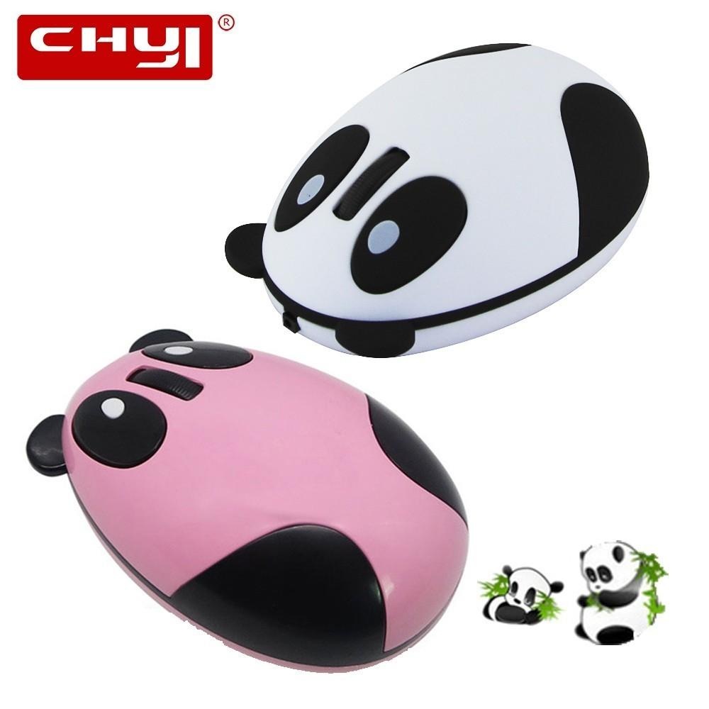 CHYI Mini Panda Wireless Silent Mouse 3 Button 1600 DPI Rechargeable Mause  With Non Slip Mat Optical Mice For Computer PC Laptop