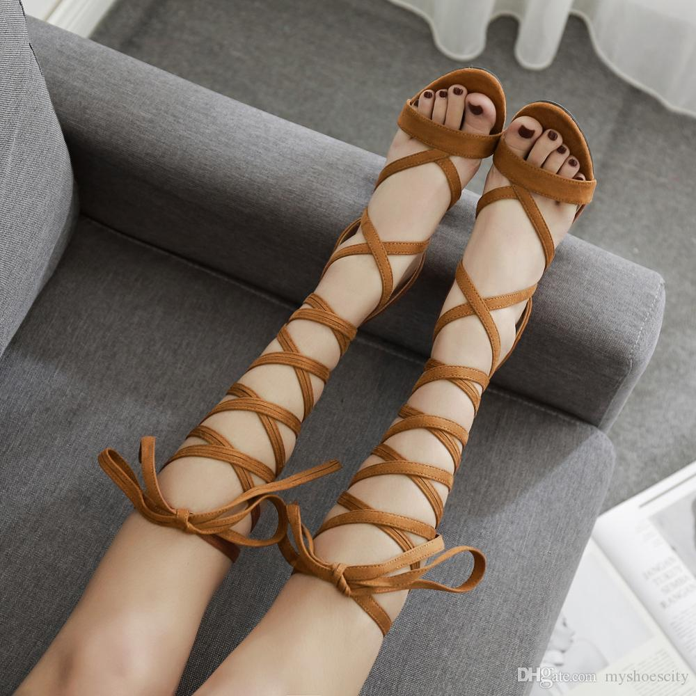 Fashion brown lace up ankle wrap strappy thick high heels sandal female ladies slides luxury designer women shoes size 34 To 40