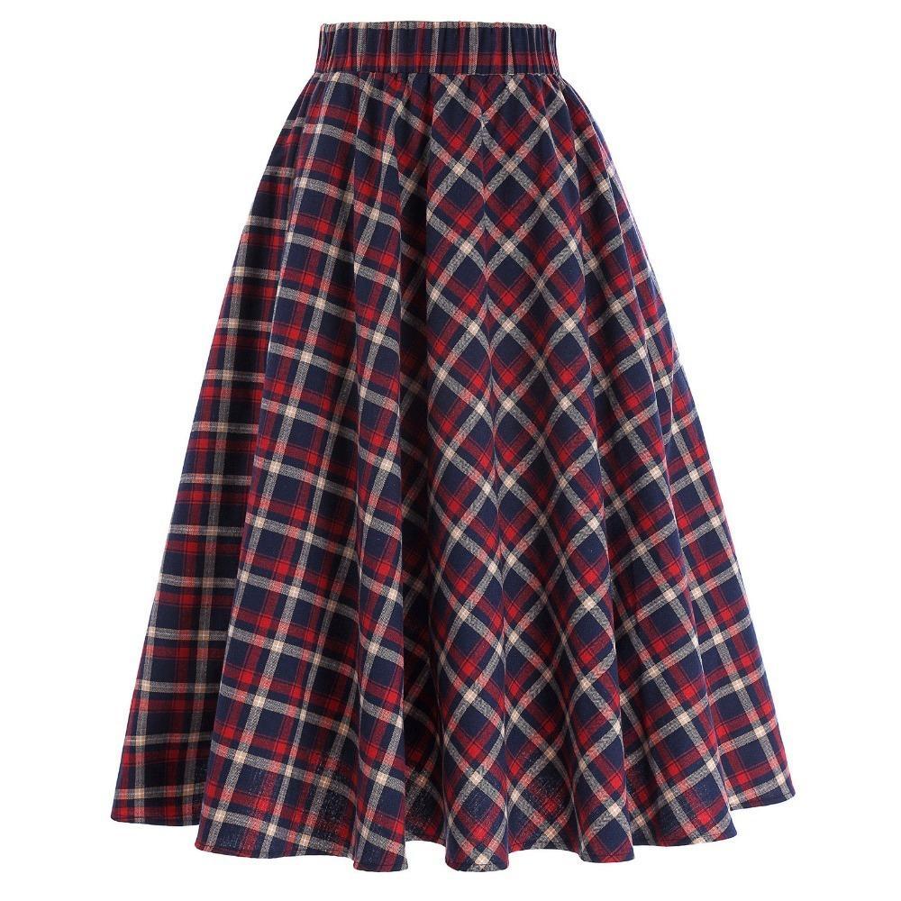 5663ff90078ca Plaid Skirts Womens Vintage Fashion Grid Pattern A-line British Style  Pleated Skater Skirt Saia Faldas High Waist Autumn Skirt Y190411