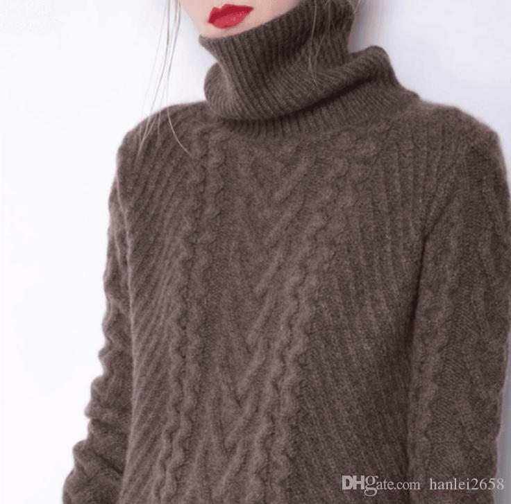 31eda4595e78 2019 Cashmere Sweater Female Turtleneck Sweater Long Paragraph Lazy ...