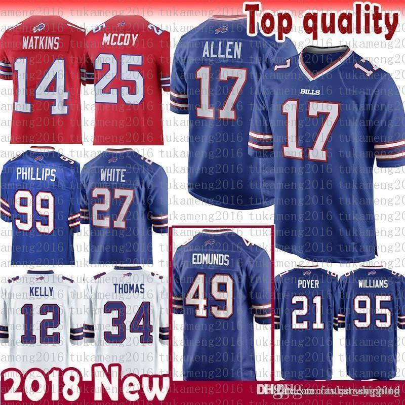 17 Josh Allen Buffalo Jersey Bills 49 Tremaine Edmunds Kelly 25 ... 13912b4eb