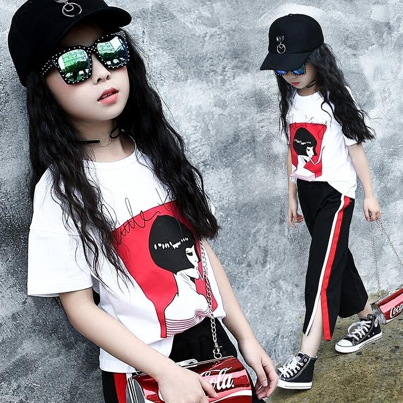 07142fc22275c 110~175 T shirt pants teenage 13 14 15 16 years old girls clothing set 2  pieces summer 2019 girls clothes