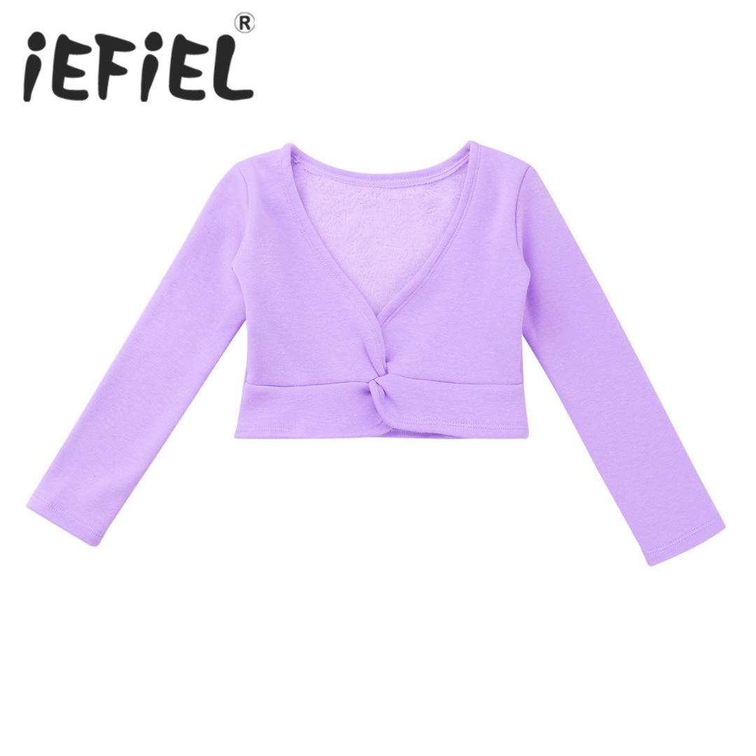 Children Ballet Dance Coat Kids Girls Classic Long Sleeve Front Twist Cotton Thick Warm Wrap Top Ballet Dance Cardigan Shrug