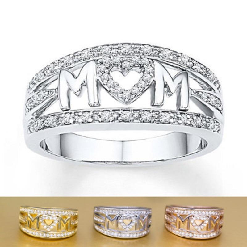 MOM Ring Carving Letter Love Heart Zircon MOM Fashion Bands Ring Rose Gold Silver Mother's Day Gift for Mother Fashion Jewelry Gift Cheap