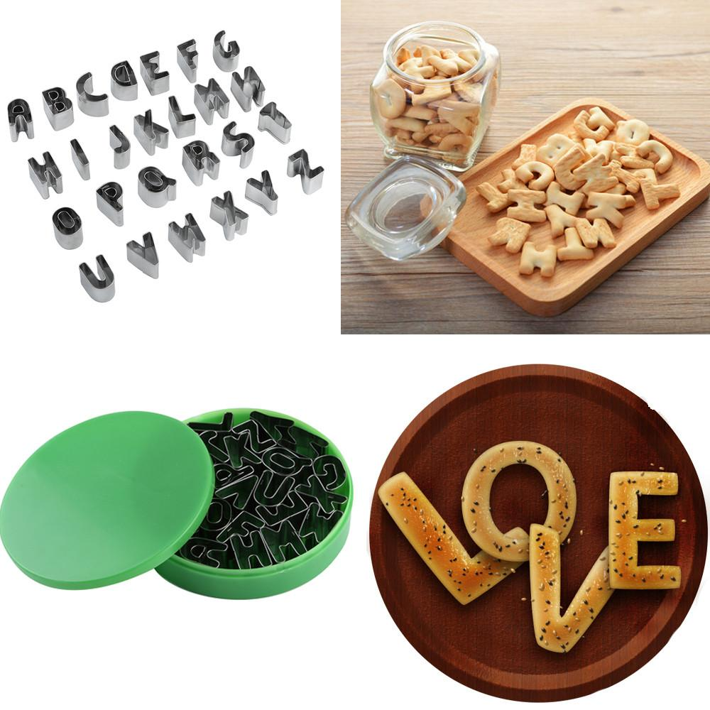 DIY 3D 26 Letters Biscuit Cake Mold Alphabet Shape Pastry Cookies Cake Cutter Mould DIY Cute Fondant Cookie Chocolate Mould