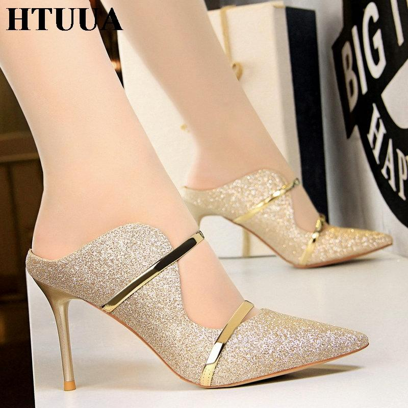 e482ad29f95f41 HTUUA Fashion Sexy Pointed Toe High Heels Women Sandals Summer Bling  Sequins Thin Heel Slippers Woman Pumps Slides Shoes SX1932 Silver Shoes  Slipper From ...