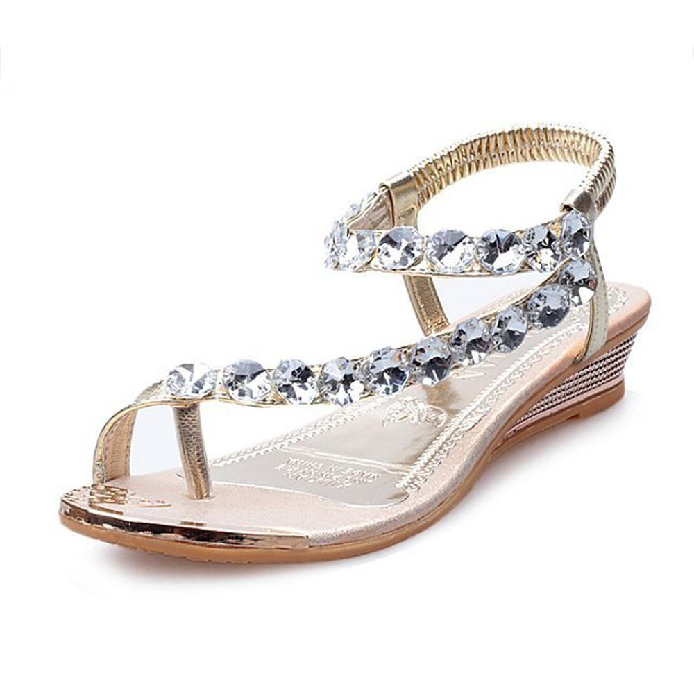 0045ecf3f 2019 Woman Summer Sandals Rhinestone Travel Beach Flats Platform Wedges Shoes  Flip Flops Nude Wedges Bridal Shoes From Clownie
