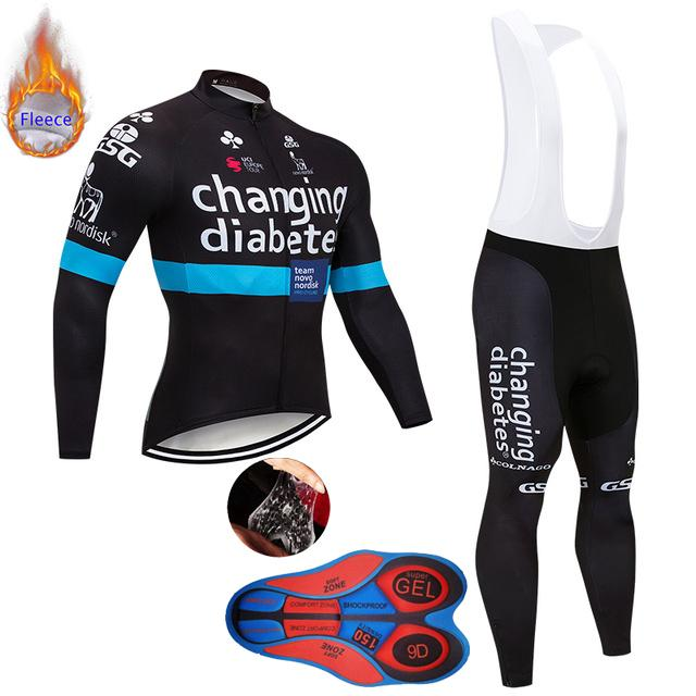 Winter Cycling Jersey Set 2019 Men/'s Thermal Fleece bike clothing bib pants kit
