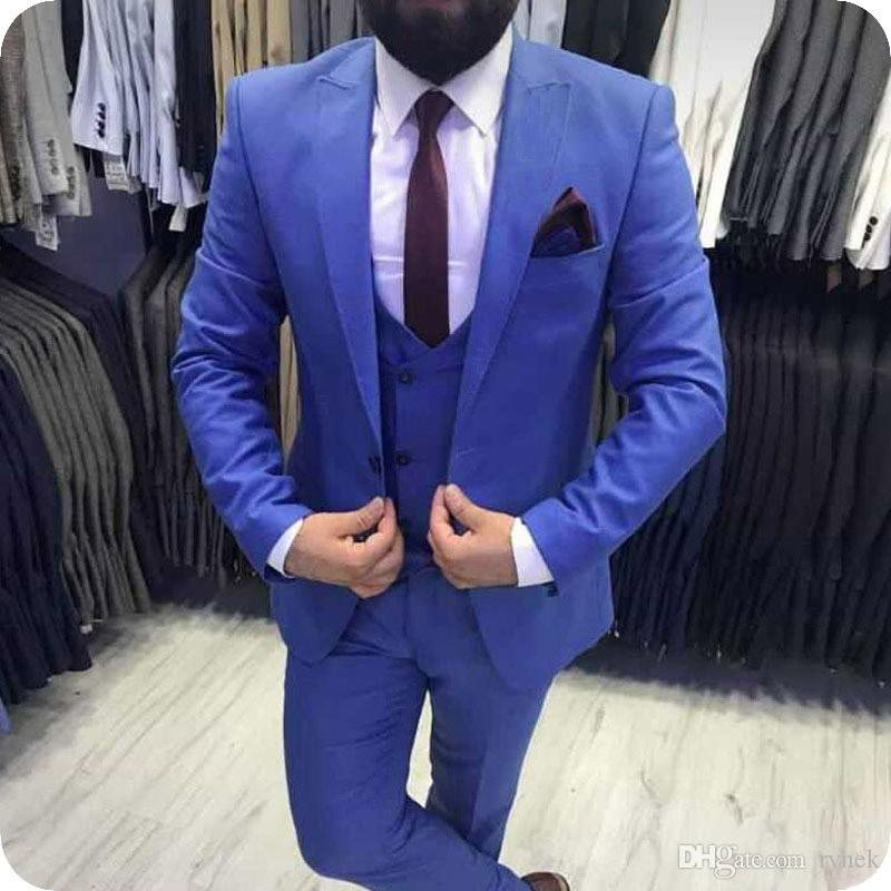 New Arrivial Blue Men Suits for Wedding Groom Tuxedo 3Piece Formal Business Man Suits Slim Fit Groomsmen Blazers Gentle Costume Homme