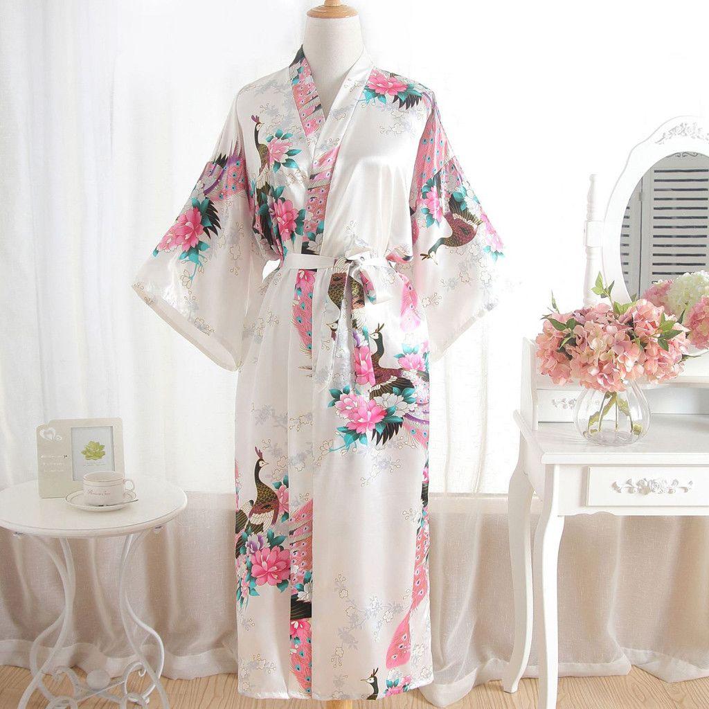 c19c35ff1741 Acquista Camicie Di Seta Le Donne Sexy Stampa In Fiore Blossom Robes Kimono  Vestaglia Bagno Lingerie Camicia Da Notte Camicia Da Notte Set Raso  Sleepwear A ...