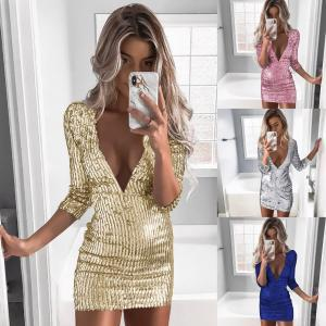 2c187e7b429 2019 Women Sequin Deep V Dress Glitter Evening Club Dress Long Sleeve Party  Dress Sexy Fashion Lady Bodycon Skirt FFA1556 From Liangjingjing bikini