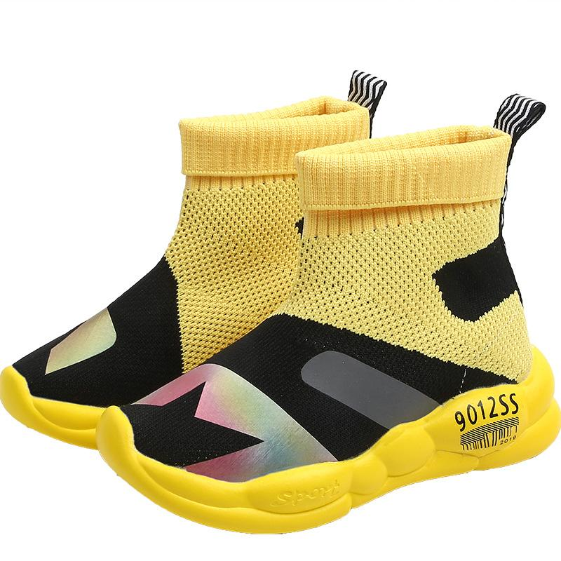 Childrens Socks Shoes 2020 Spring Autumn New Korean Knitting Boys Girls Mesh Breathable Sneakers Fashion Kids Sport Casual Shoes