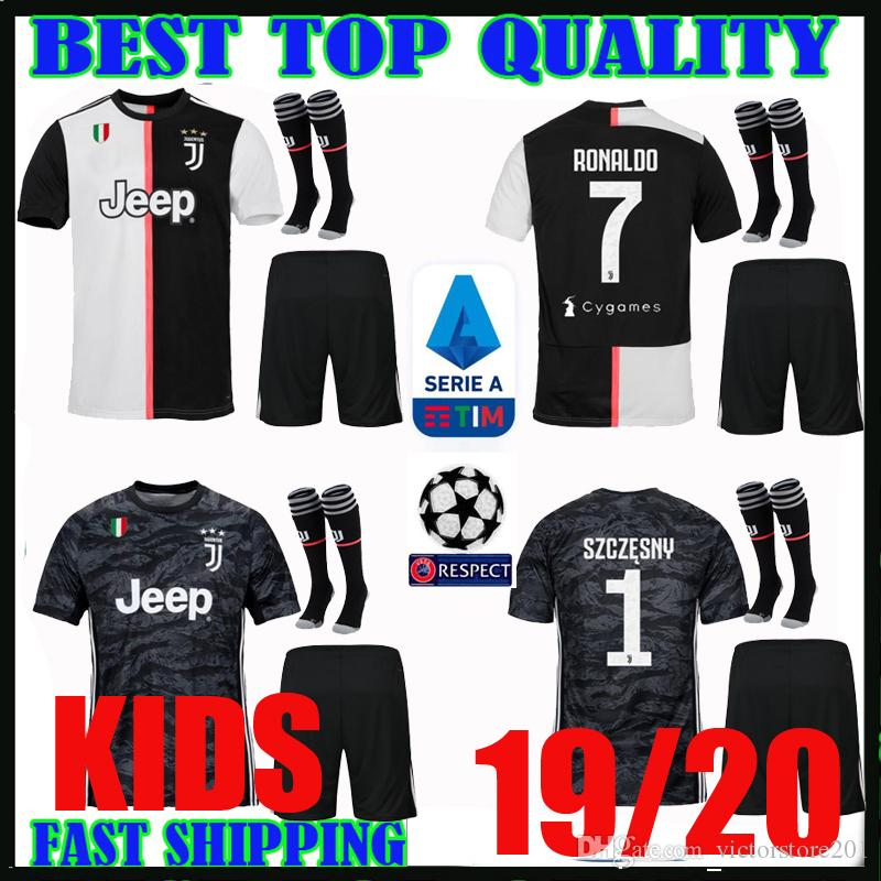 uk availability 7ef2a a9768 kids kit 19 20 RONALDO Juventus champions league soccer jerseys DYBALA 2019  2020 home MANDZUKIC SZCZESNY child goalkeeper football shirts