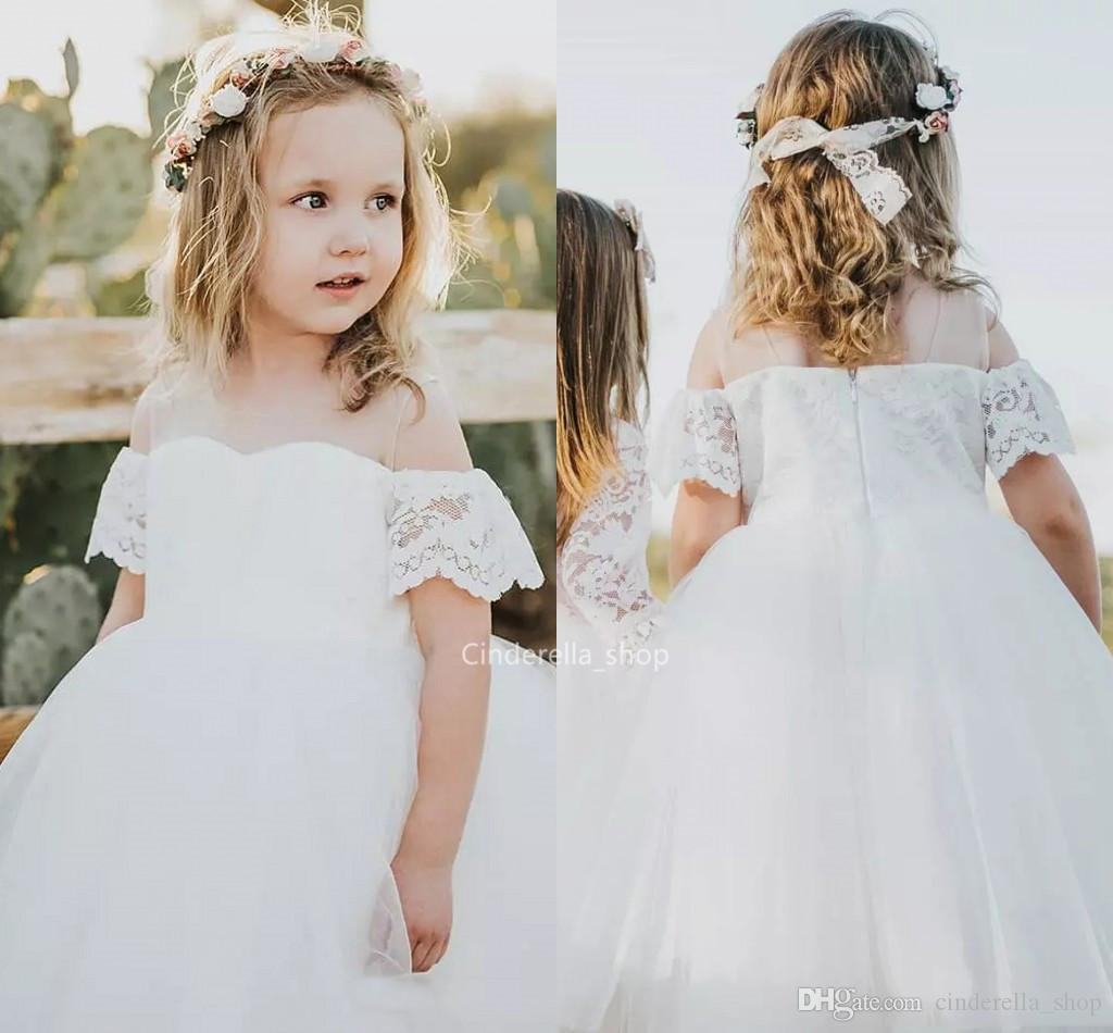 eb9ed8fa6d0f Pretty Lace Tulle Flower Girls Dresses White Off The Shoulder Ball Gowns  Holy First Communion Dresses Country Wedding Party Girls Gowns 2019 Young  Girls ...