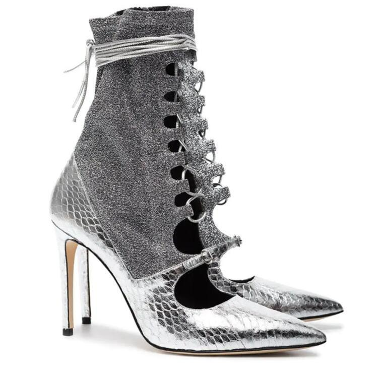 4f4056ab586c3 2019 Spring New Gladiator Strappy Booties Metallic Silver Snakeskin Leather Sock  Boots Pointed Toe High Heel Shoes Women Black Knee High Boots Chukka Boots  ...