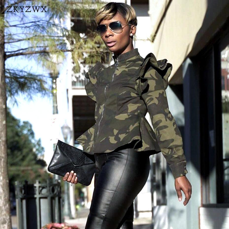 e13a4e6fe60f0 ZKYZWX Women Jacket Fashion Camouflage Bomber Jacket Casual Coat Fall  Winter Camo Printed Long Sleeve Plus Size Outwear Clothes Bomber Jacket Coat  From ...