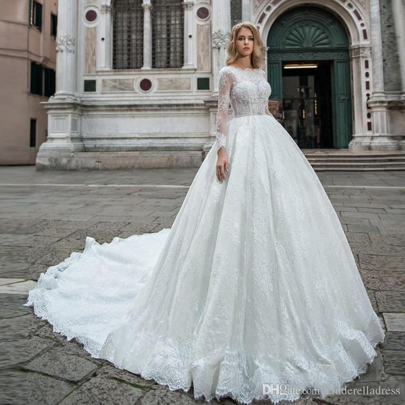594a8d91c86 2019 New Arrival Princess Ball Gown Wedding Dresses Lace Appliques Illusion  Long Sleeves Bridal Gowns Vestidos De Mariee Custom Garden Romantic Wedding  ...