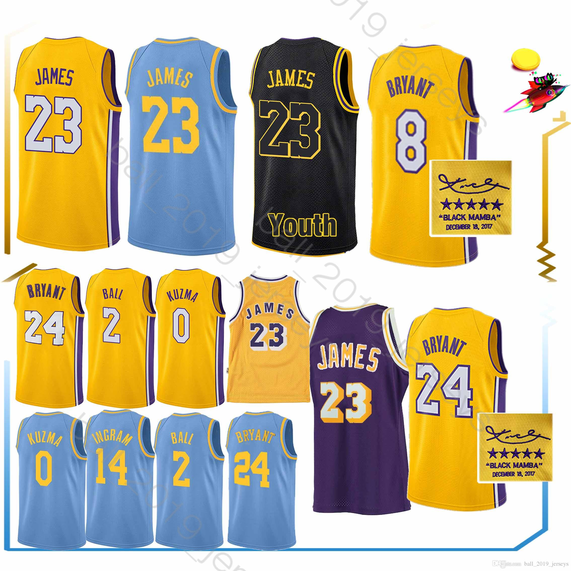 detailed look d0001 efe4f Laker jerseys 23 LeBron James jersey 0 Kuzma 2 Ball 24 Bryant jerseys 2019  men basketball
