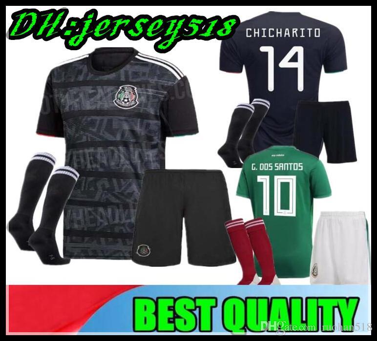 c6010edb3 2019 2019 Gold Cup Mexico Boys Soccer Jersey Kids Kit Black Mexico Home  Green Soccer Jerseys CHICHARITO Child Shirts Uniform H. LOZANO From  Ruohan518