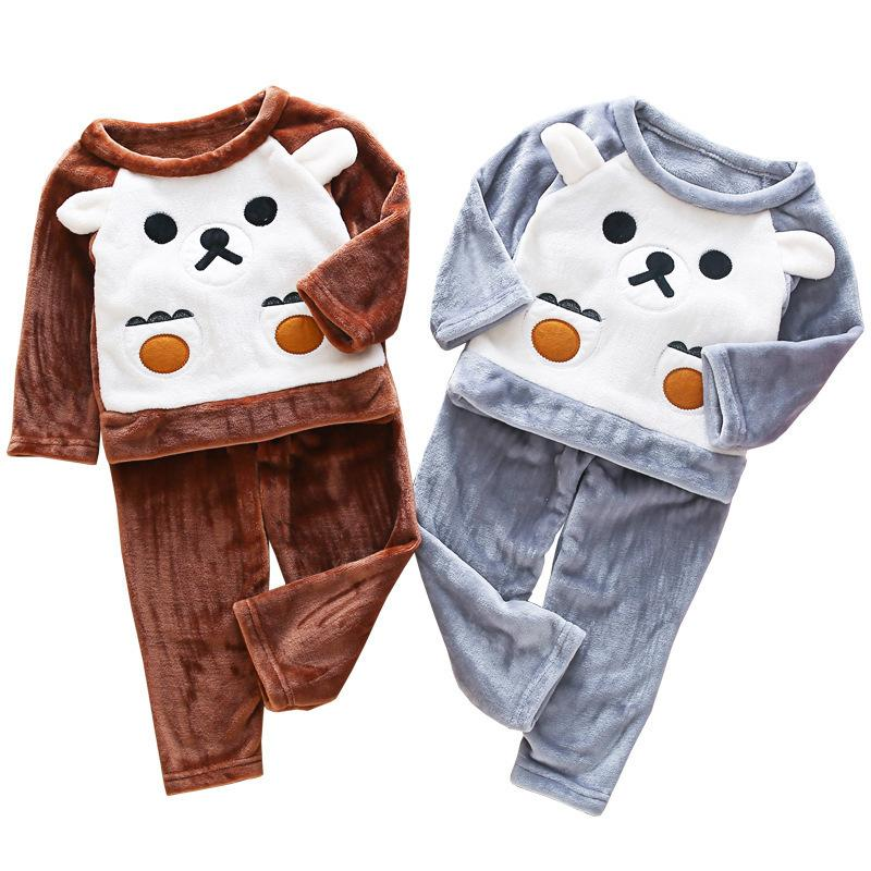 94ae6f7818 Baby Girl Flannel Pajamas Autumn Winter Clothing Set Kids Sleepwear  Children Boys Thick Warm Fleece Nightwear Clothes 3 10 Years Baby Boy  Christmas Pajamas ...