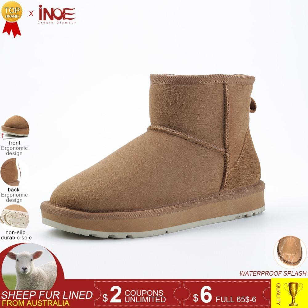 55ab584a85c INOE Classic Sheepskin Leather Wool Fur Lined Women Winter Ankle Suede Snow  Boots For Women Short Basic Winter Shoes Black Brown Rain Boots Mens Shoes  From ...