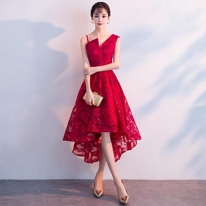 8088f30b63245 Sexy Chinese Burgundy Qipao Female Short Cheongsam Dress Vestidos Chinos  Oriental Wedding Gowns Party Dresses Size XS-XXL