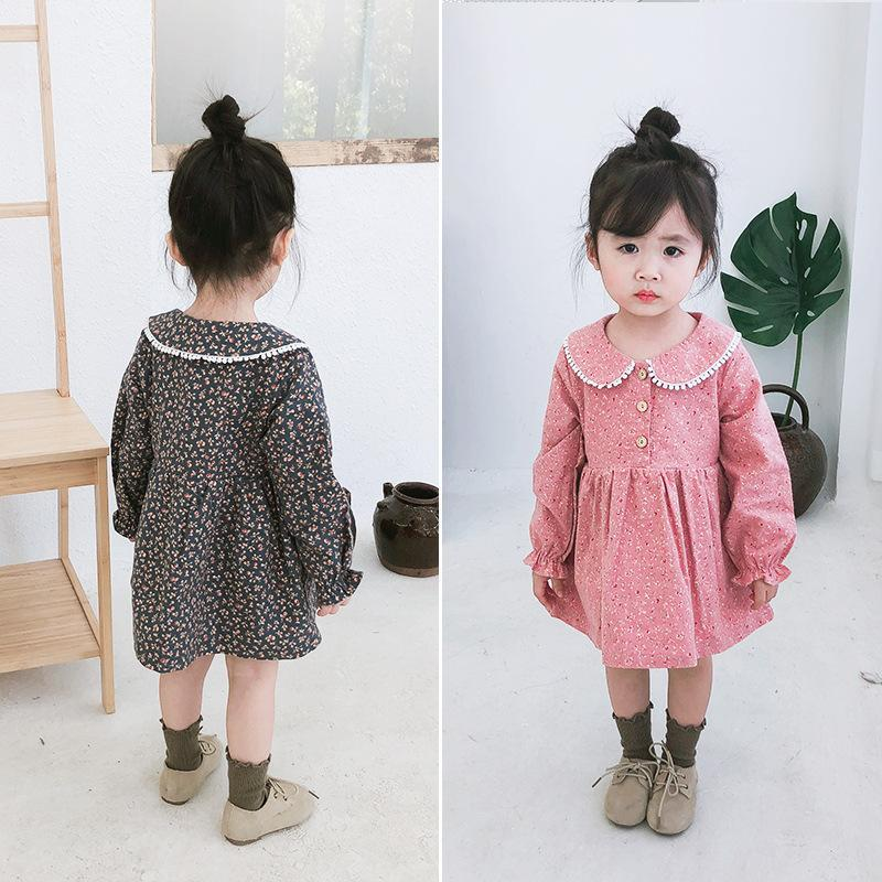 2019 Autumn New Arrival korean style cotton Lace Collar Broken Flower princess long sleeve Dress for cute sweet baby girls