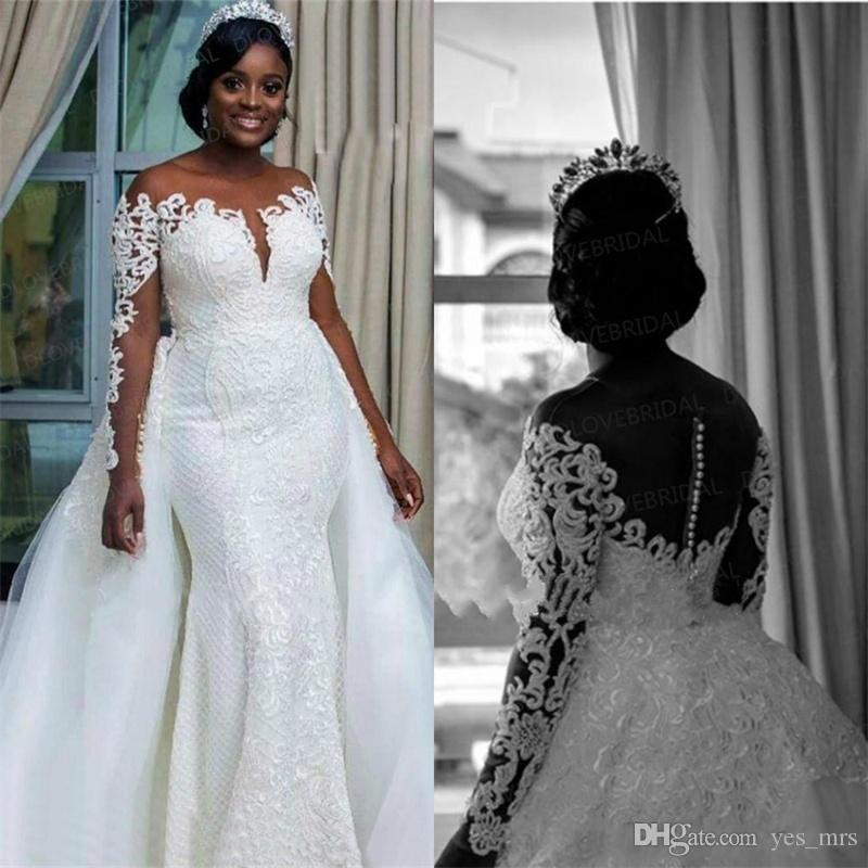 217de2fe910 2019 New Arrival Sexy Mermaid Wedding Dresses Cap Long Sleeves Lace  Appliques Overskirts Sexy Back Sweep Train Formal Plus Size Bridal Gowns  Wedding Dress ...