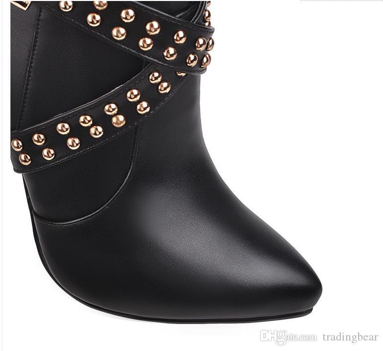 Плюс размер 33 до 42 43 роскошных заклепки красные нижние высокие каблуки дизайнер обуви колено высокие сапоги