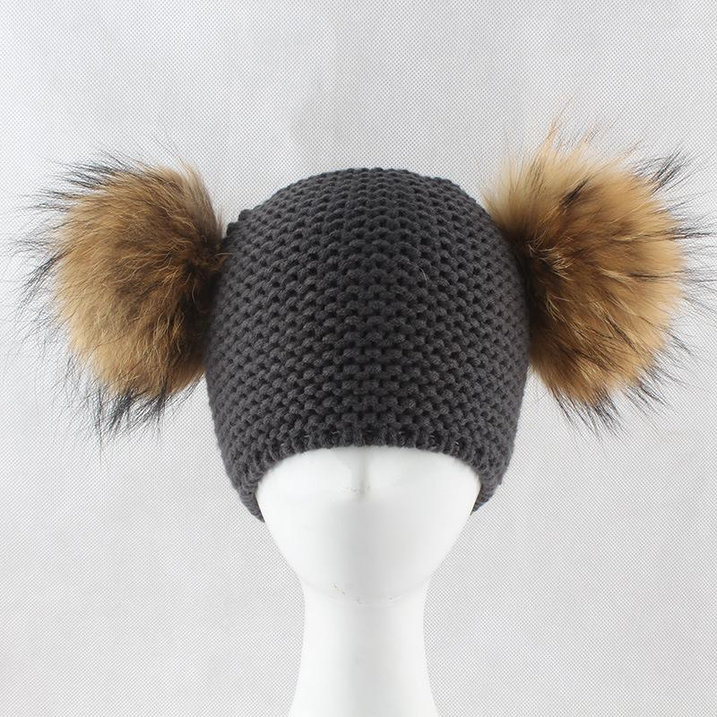 ddcc30c48f4 2019 Boys And Girls Baby Double Ball Real Fur Braid Big Fox Fur Ball Wool  Hat Kids Warm Winter Caps Double Pom Pom Wool Hat From Superfeel