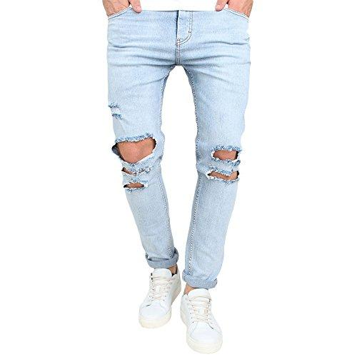 Just No Logo Men's Slim Fit Light Blue Ripped Jeans Destroyed Denim
