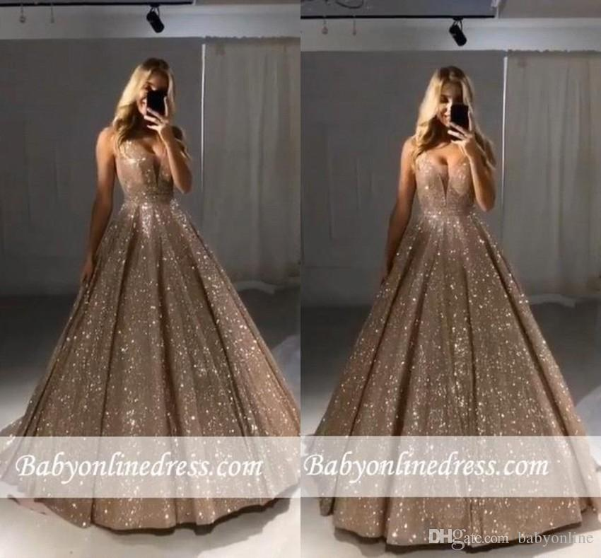 92e739305 Shiny Gold Ball Gown Evening Dresses Sexy V Neck Sequins A Line Long ...