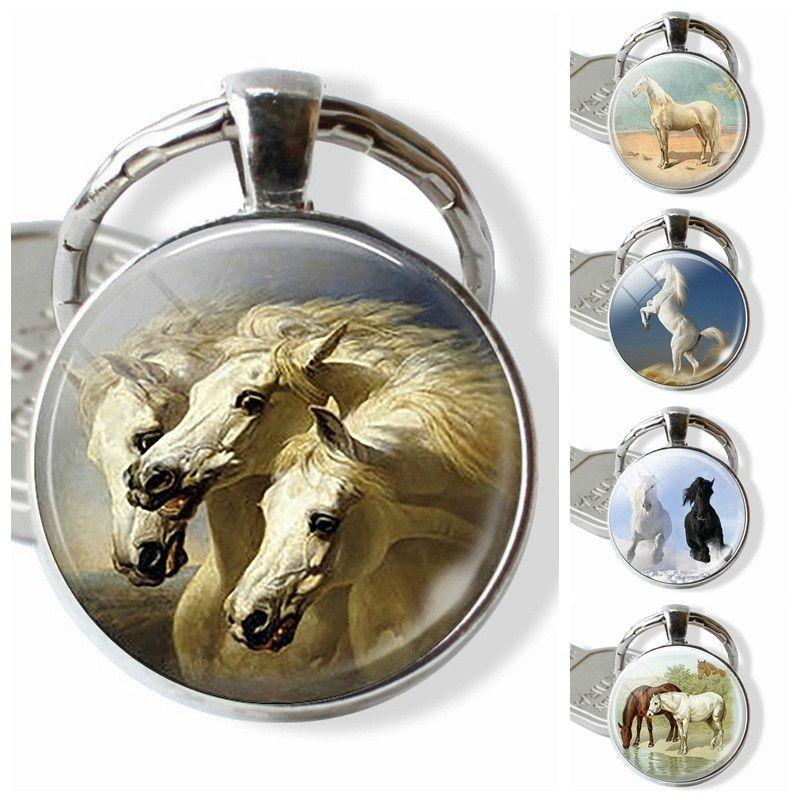 Grosshandel Drei Weisse Pferde Schmuck Glaskuppel Anhanger Silber
