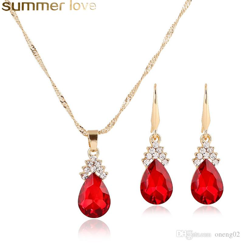 a3d340dc1 2019 Fashion Colorful Crystal Water Drop Necklace Earring Set Gold Color  Chain Necklaces For Girls Women Wedding Jewelry Sets Gift From Oneng02, ...
