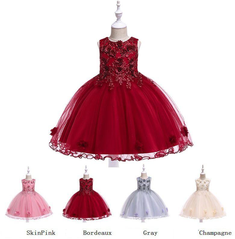593d241dc Compre Vestidos De Fiesta Para Niñas Princesa Falda De Boda Ropa De Moda  Para Niños Vestidos De Fiesta Bordados Estereoscópicos De Alto Grado Vestido  Sin ...