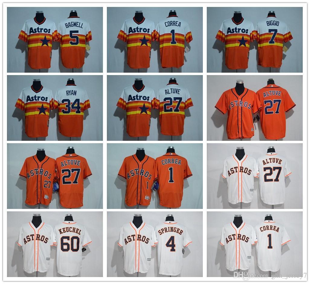 e0ee118078f 2018 Houston Astros Baseball Jerseys 27 Jose Altuve 4# George Springer 1 Carlos  Correa 5 Jeff Bagwell 34 Nolan Ryan 7 Craig Biggio Jerseys From Wgtrade5,  ...