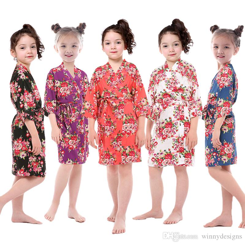 e98c81b1b4 Children Kimono Robe Nightdress Wholesale Girls Nightgown High Quality  Printed Flowers Pajamas for Summer Free Shipping