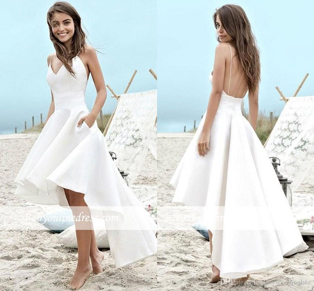 948319a0113b Discount High Low Short Wedding Dresses 2019 A Line Summer Beach Boho  Bridal Gowns A Line Satin Backless Spaghetti Straps Party Gowns BC0354 Wedding  Dresses ...