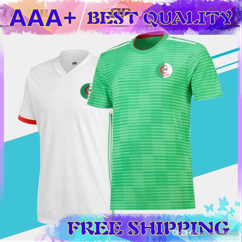 cheap for discount 570ef ee803 Algeria home white away green Soccer Jersey 2018 Algeria home white soccer  shirt 2018 away green Football uniforms