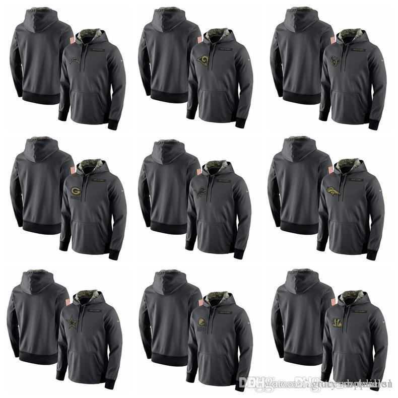 quality design cb47b dc10c Mens Bengals Cleveland Browns Dallas Cowboys Denver Broncos Detroit Lions  Packers Salute to Service Player Performance Hoodie-Anthracite