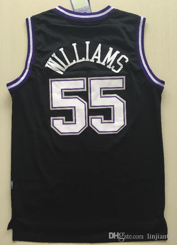 4cf6a46ae Compre A Camisa De Basquete Do Kings No. 55 Masculino Jason Williams Jersey  Bordado Branco Chocolate Roxo Restaurar Antigas Formas De Ziksji123