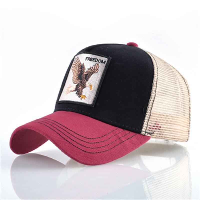 69b326219d5 FREEDOM Casual Mesh Baseball Hats Embroidered Animals Adjustable ...